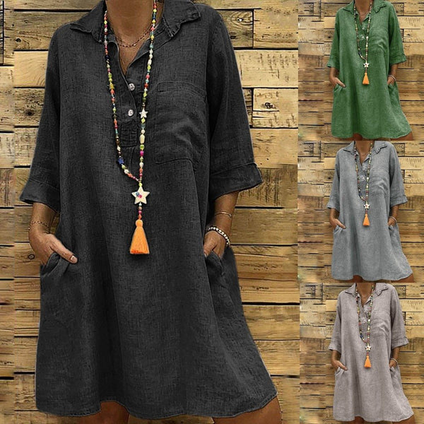 Mira - Three Quarter Sleeve Linen Shirt Dress