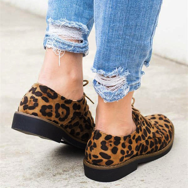 Isa - Leopard Print Lace Up Flats