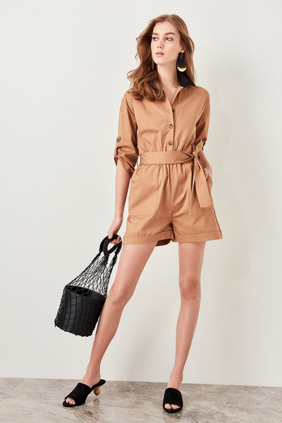 Holly - Waist Tie Rolled Sleeve Jumpsuit