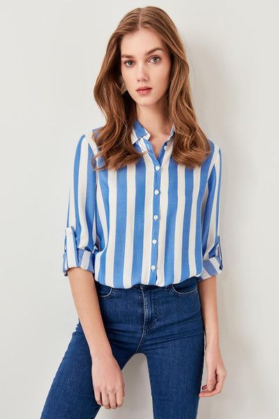 Elisa - Striped Button Down Collared Blouse