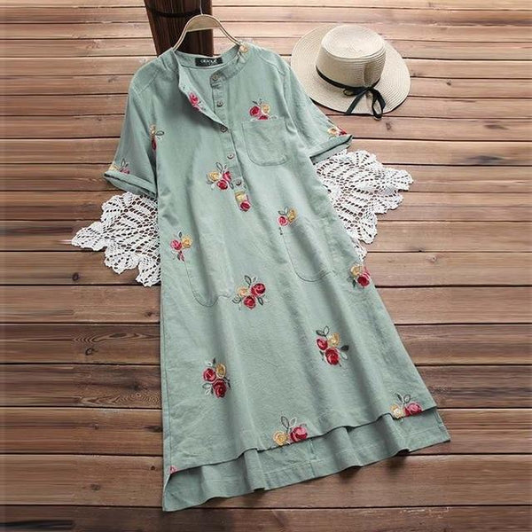 Barna - Short Sleeve Boho Vintage Dress