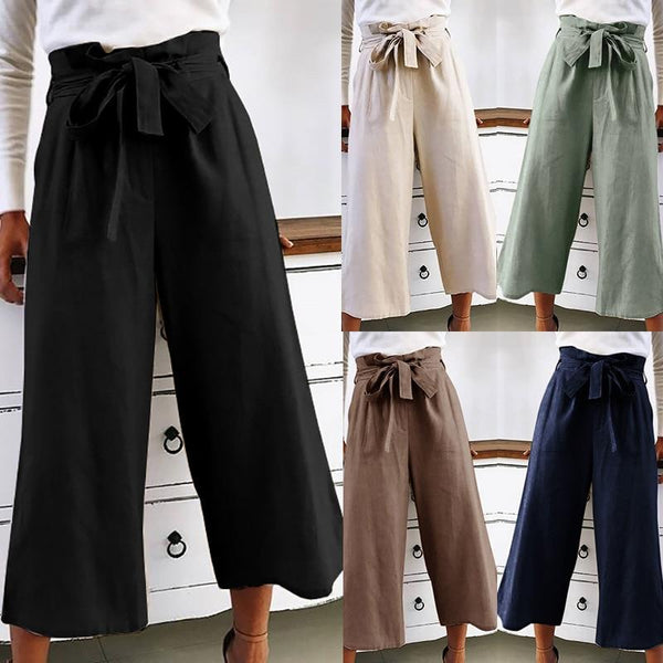 Haley - High Waist Tie Wide Leg Pants