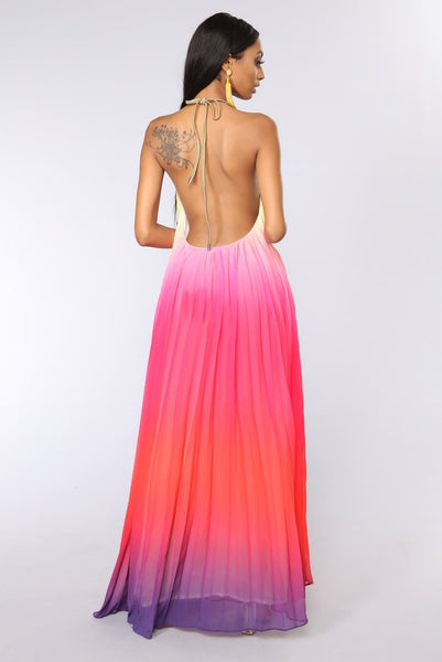 Naomi - Halter Neck Gradient Boho Maxi Dress