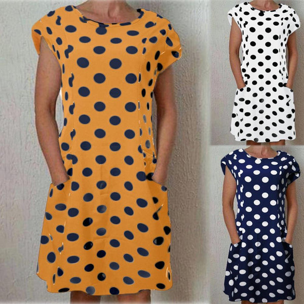 Alegra - Short Sleeve Polka Dot Dress