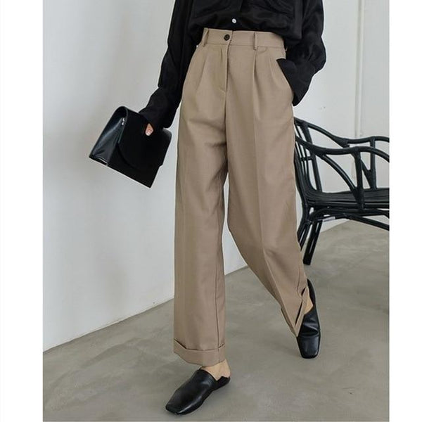 Amrita - High Waist Straight Leg Trousers