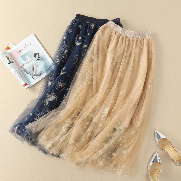 Zandra - Night Sky Sequined Tulle Skirt