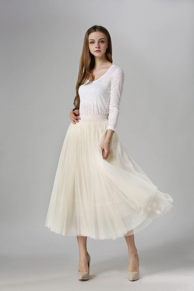 Sinead - High Waist Pleated Tulle Skirt