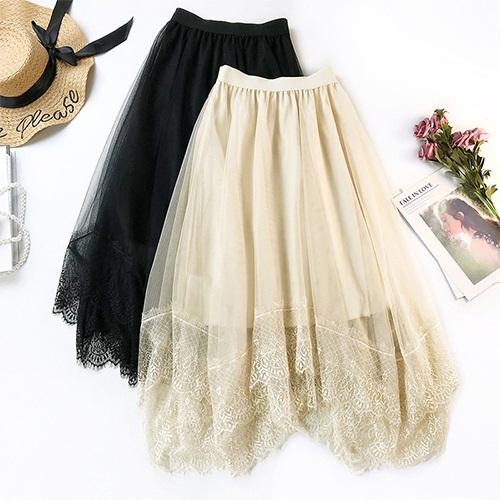 Dominica - Asymmetric Lace Hem Layered Tulle Skirt