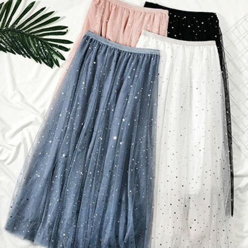 Alva - Starry Night Sky Tulle Maxi Skirt