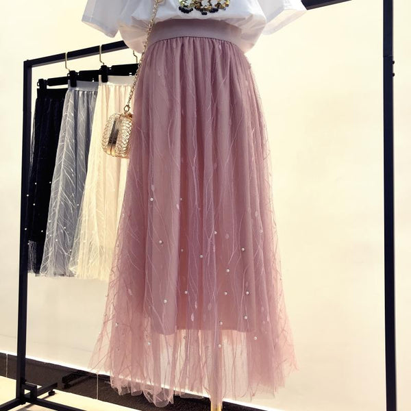Bea - High Waist Tulle Maxi Skirt