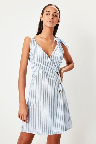 Clementine - Wrap Striped Dress