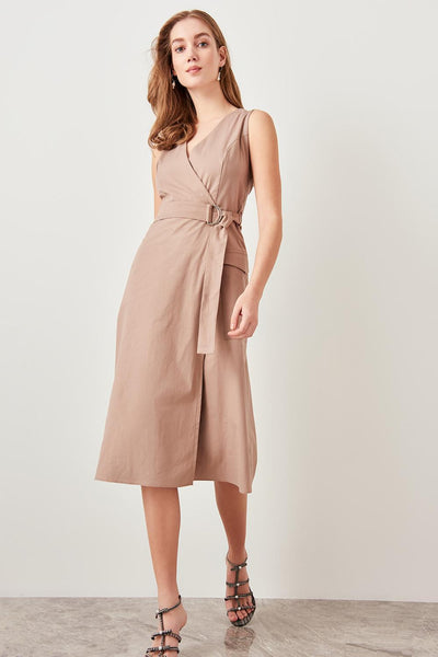 Gabby - Waist Belt Wrap V-Neck Dress
