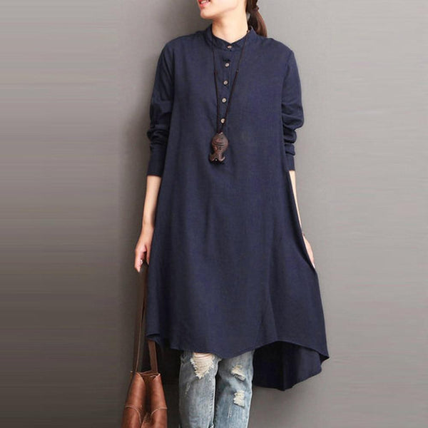 Magda - High Collar Shirt Dress