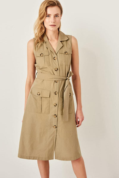 Serenity - Button Down Waist Tie Dress