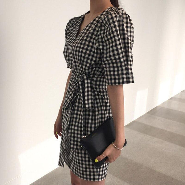 Bina - Plaid Waist Tie Dress