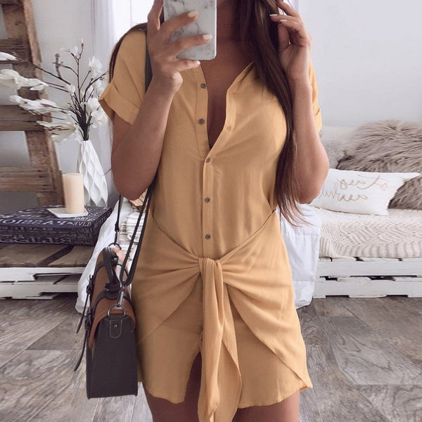 Elisha - Front Waist Tie Button Down Shirt Dress
