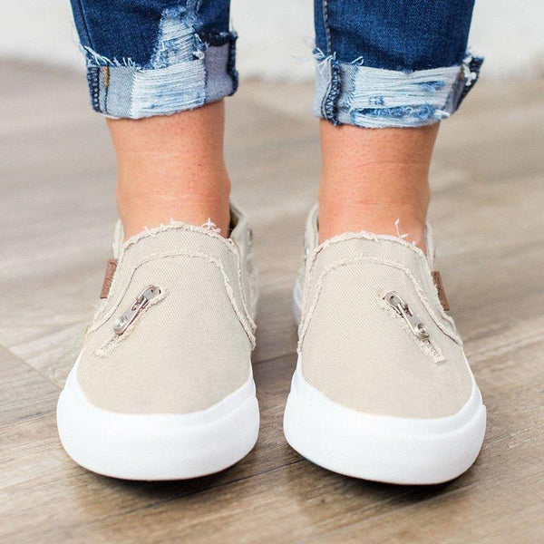 Ellen - Canvas Zipper Detail Loafers