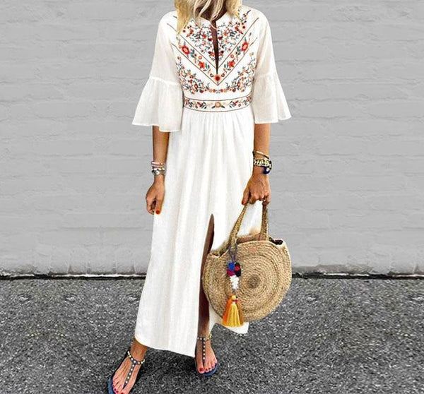 Amara - Ruffle Sleeve Front Split Boho Maxi Dress