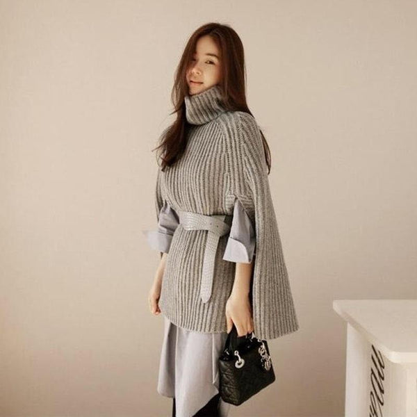 Turtleneck Open Sleeve Poncho