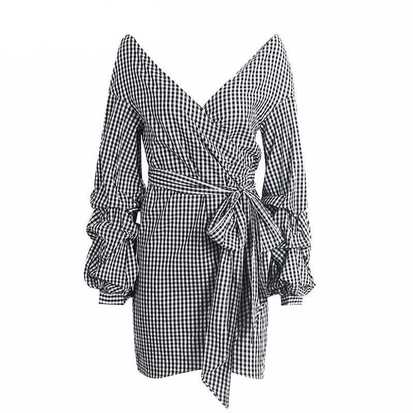 Lacey - Off the Shoulder Striped Wrap Dress