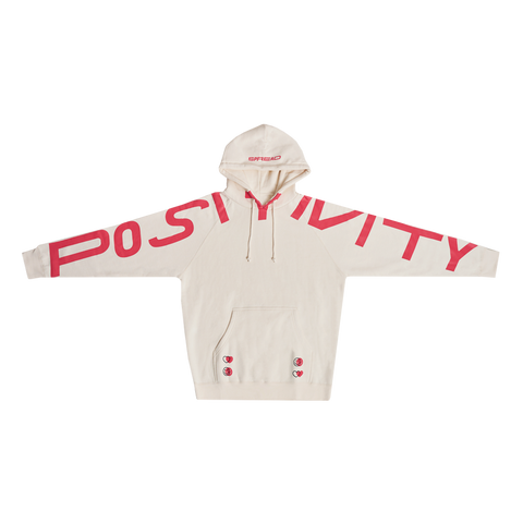 Spread Positivity Hoodie - Cream (Red)