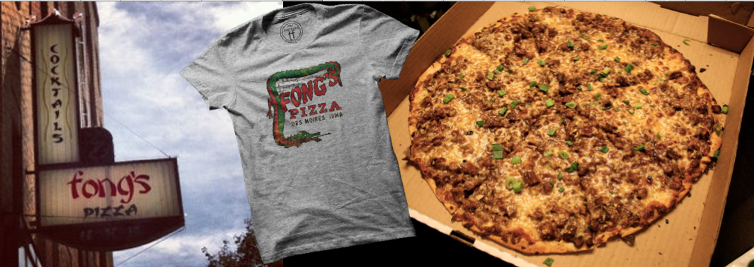 Fong's Pizza, De Moines, Iowa, Twin Forks Dragon Tee. DSM Classic