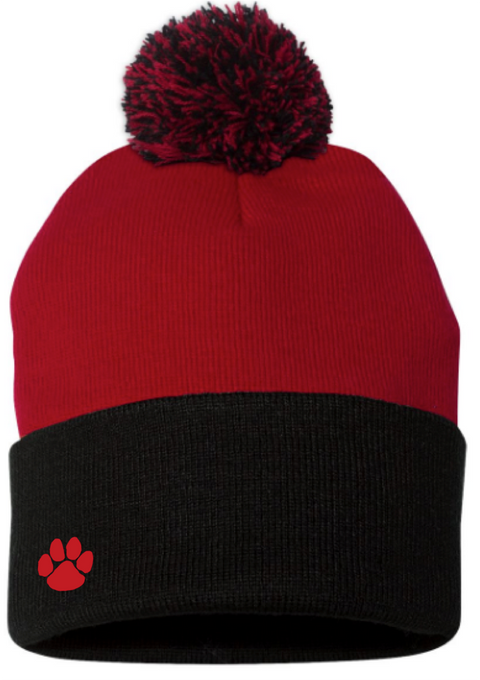 Alder Creek Knit Cap with Pom-Red/Black