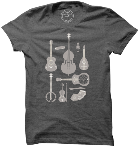 String Instruments Tee-Charcoal