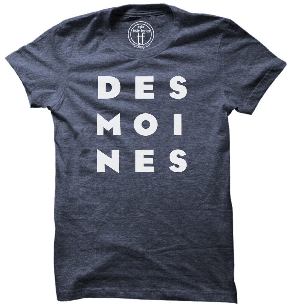 DES MOINES Stack Tee-Navy Heather