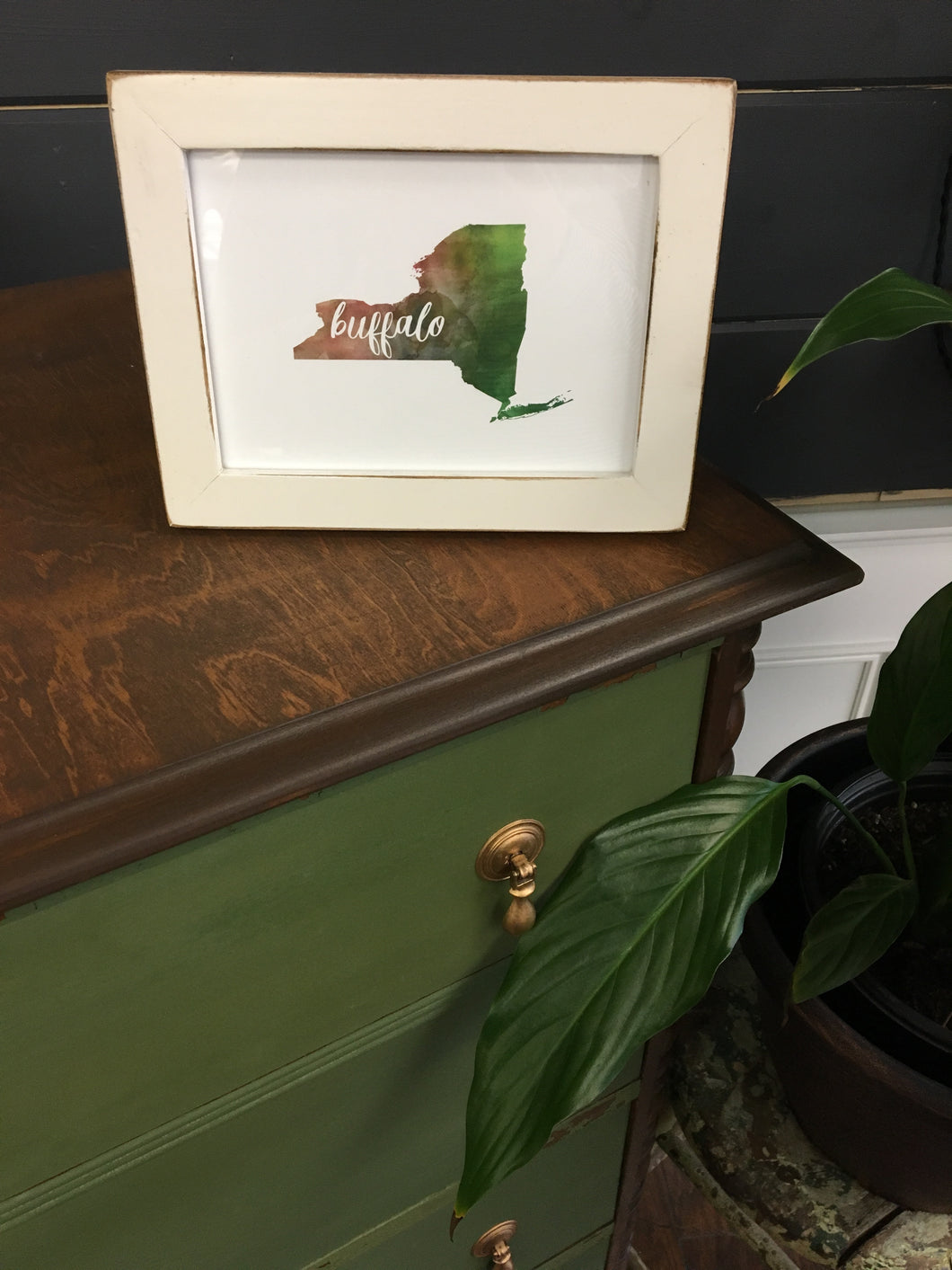 Framed Buffalo Watercolor Print