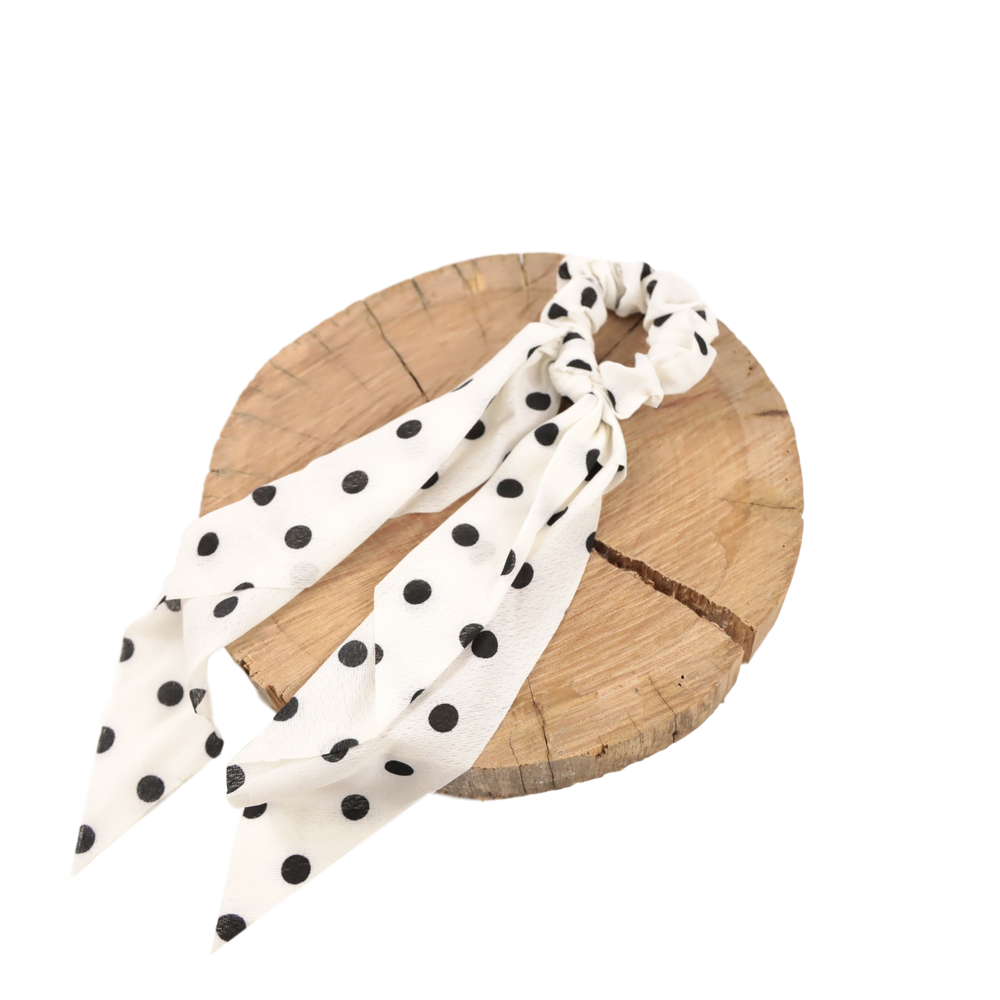 Scrunchie - White & Black Large Polkadot