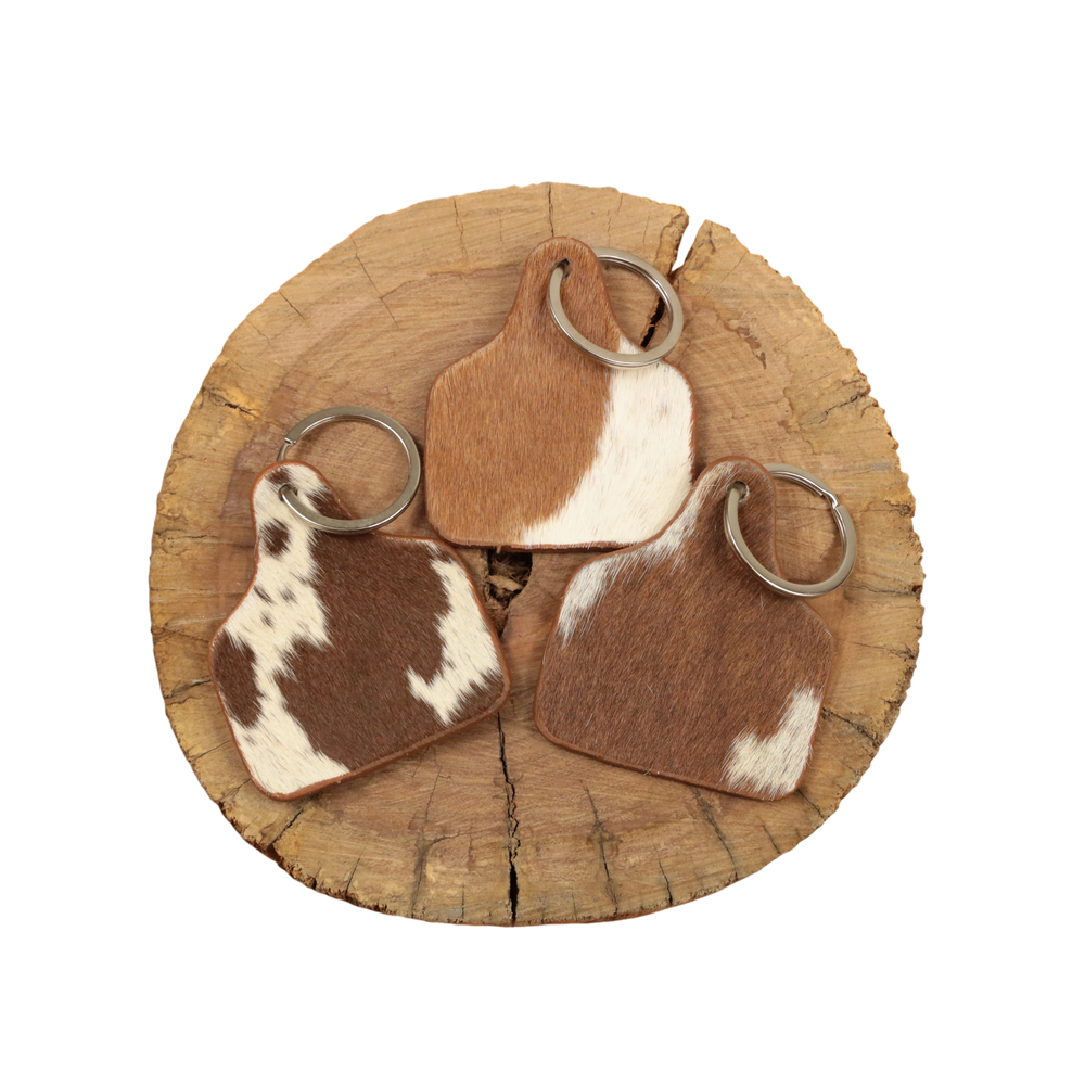 Cowhide Cattle Tag Keychain - Tan/White Patch