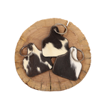 Cowhide Cattle Tag Keychain - Black/White Patch