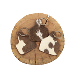 Cowhide Cattle Tag Keychain - Brown/White Patch
