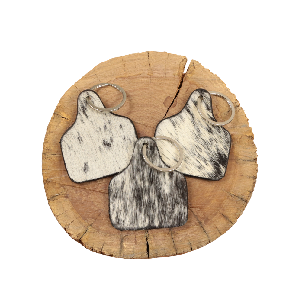 Cowhide Cattle Tag Keychain - Black/White Salt & Pepper