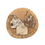 Cowhide Cattle Tag Keychain - Brown/White Salt & Pepper