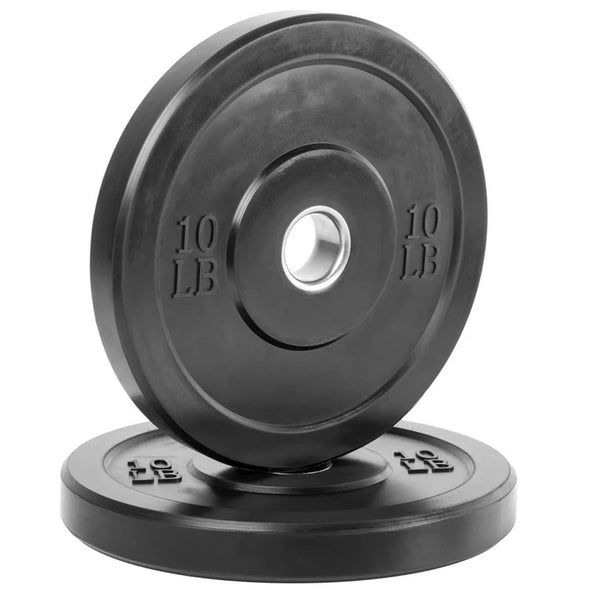 260lb BLACK Bumper Plate Weight Set with (45lb) 7ft Olympic Bar & Clips (NEW)