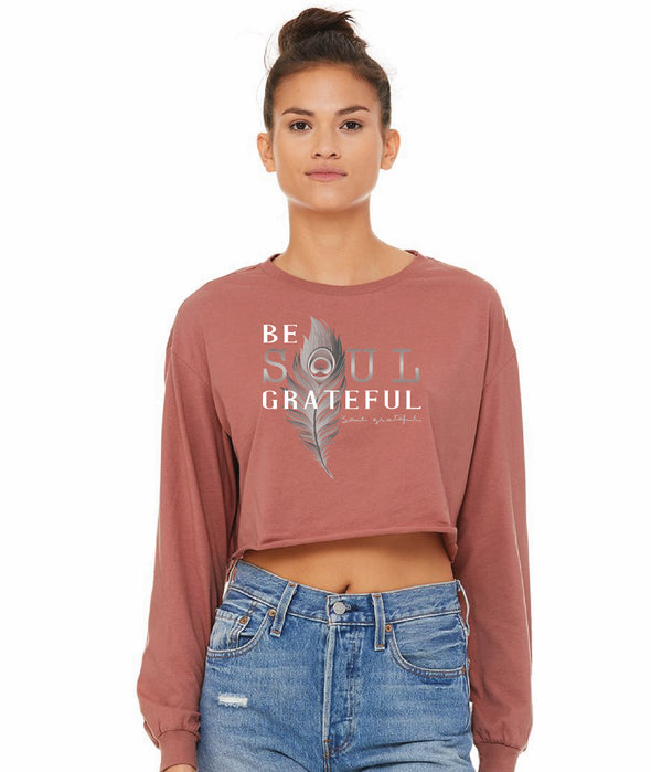 Be Soul Grateful Mauve Cropped Long Sleeve Tee