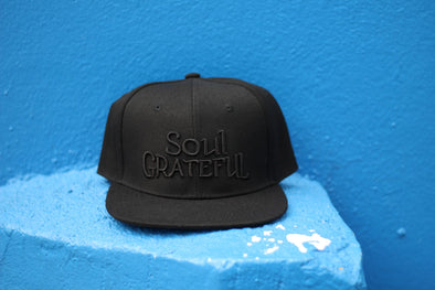Soul Grateful Snapback Hat (Black/Black)