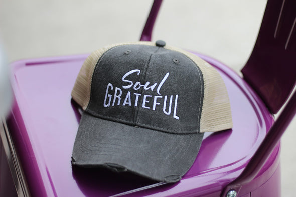 Soul Grateful Trucker Cap (Black/Tan)