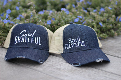 Soul Grateful Trucker Cap (Dark Denim/Tan)