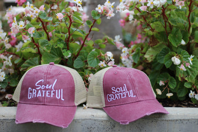 Soul Grateful Trucker Cap (Raspberry/Tan)