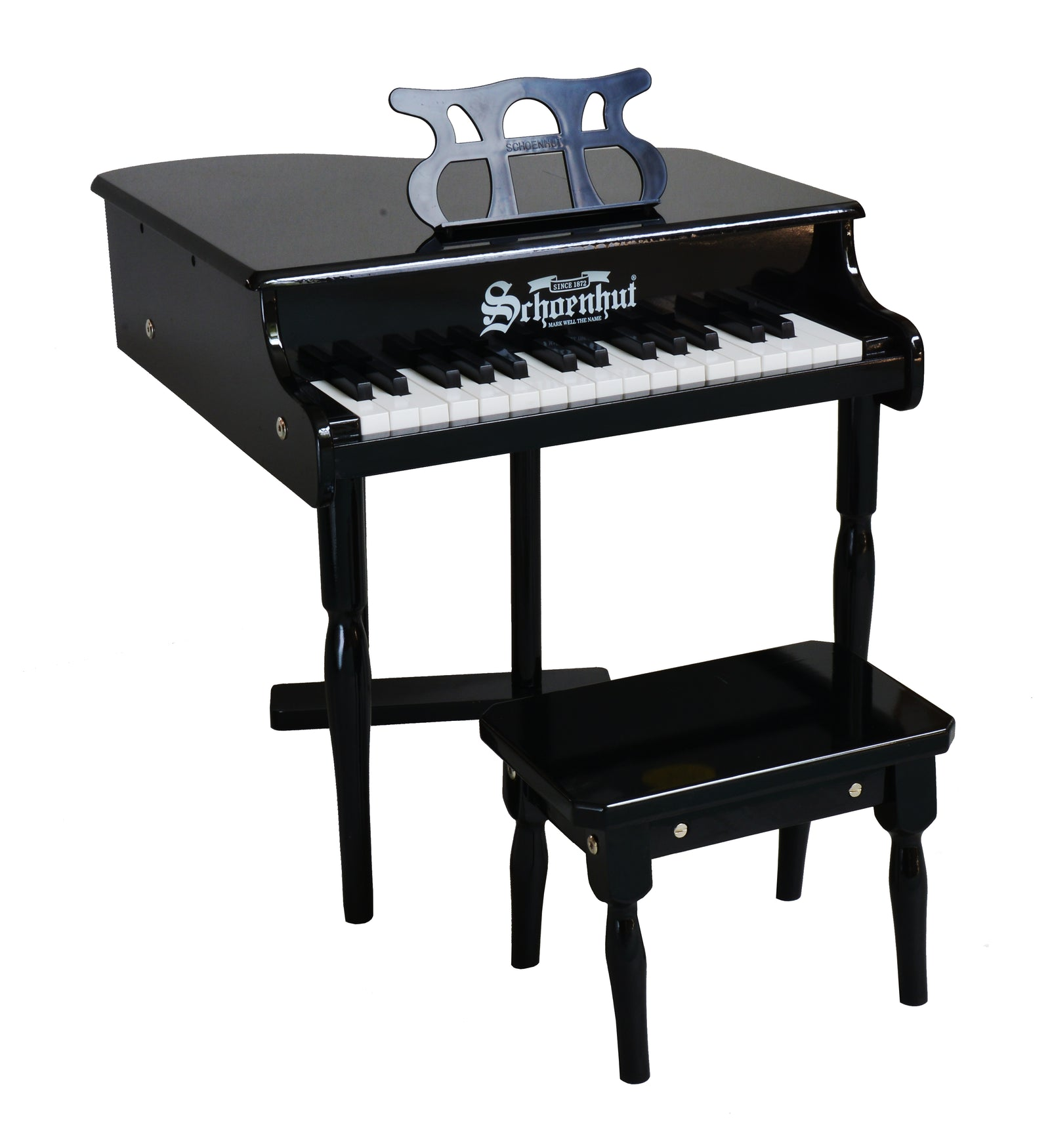 Schoenhut classic baby grand piano 30 key black for Smallest baby grand piano dimensions