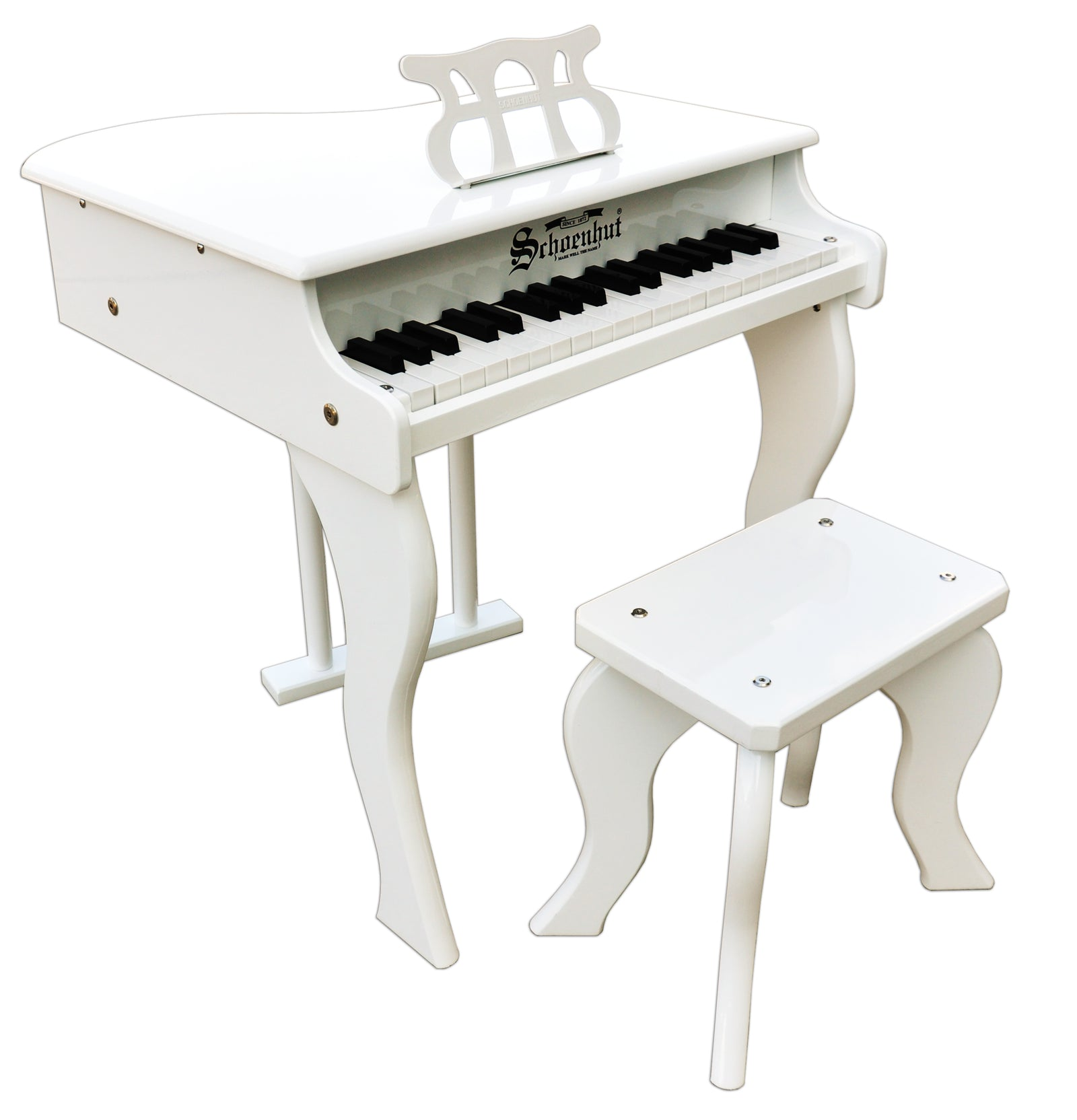 Schoenhut Elite Baby Grand Piano 37-Key White side view