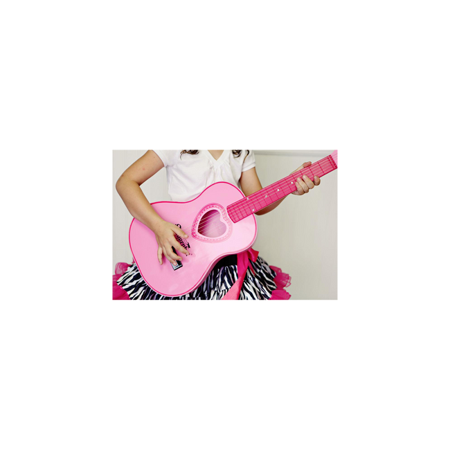 Girl playing Schoenhut Acoustic Guitar Pink