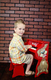 Child with Schoenhut Piano Pals Dog w/ Bench 25-Key Red