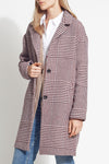 Houndstooth Plaid Wool Coat