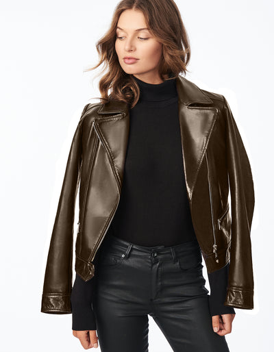 Leather Moto Jacket with Notched Lapels