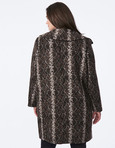 Snake Print Wool Coat with Wing Collar - Extended Sizes