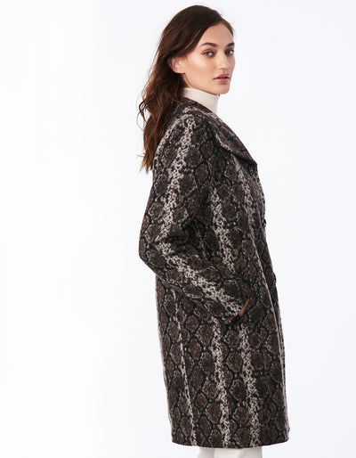 Snake Print Wool Coat with Wing Collar